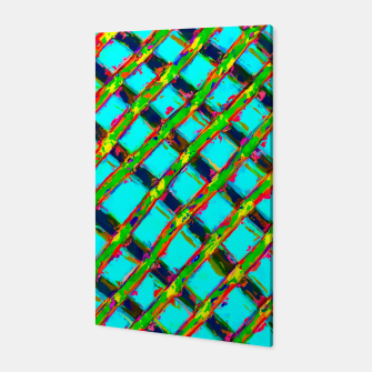 line pattern painting abstract background in blue green red yellow Canvas obraz miniatury