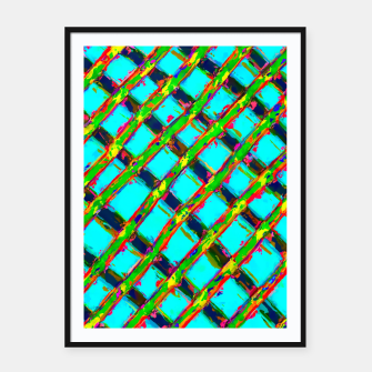 line pattern painting abstract background in blue green red yellow Framed poster obraz miniatury