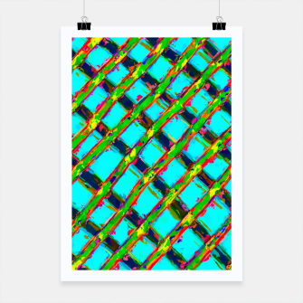 line pattern painting abstract background in blue green red yellow Poster obraz miniatury