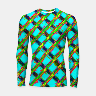 line pattern painting abstract background in blue green red yellow Longsleeve Rashguard  obraz miniatury