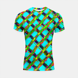 line pattern painting abstract background in blue green red yellow Shortsleeve Rashguard obraz miniatury