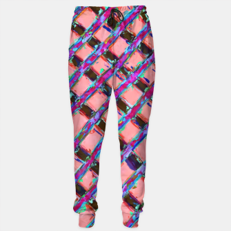 line pattern painting abstract background in pink blue purple Sweatpants obraz miniatury
