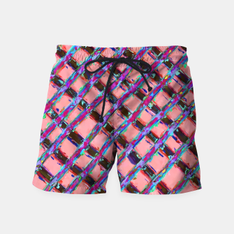 line pattern painting abstract background in pink blue purple Swim Shorts obraz miniatury