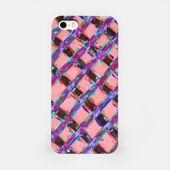 line pattern painting abstract background in pink blue purple iPhone Case obraz miniatury