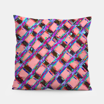 line pattern painting abstract background in pink blue purple Pillow obraz miniatury