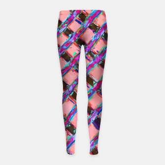 line pattern painting abstract background in pink blue purple Girl's Leggings obraz miniatury