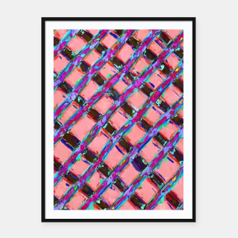 line pattern painting abstract background in pink blue purple Framed poster obraz miniatury