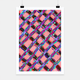 line pattern painting abstract background in pink blue purple Poster obraz miniatury
