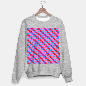 line pattern painting abstract background in pink red blue Sweater regular obraz miniatury