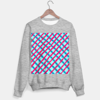 line pattern painting abstract background in blue and red Sweater regular obraz miniatury