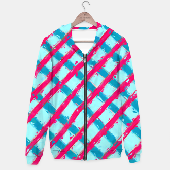 line pattern painting abstract background in blue and red Hoodie obraz miniatury