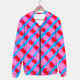 line pattern painting abstract background in pink red blue Hoodie obraz miniatury