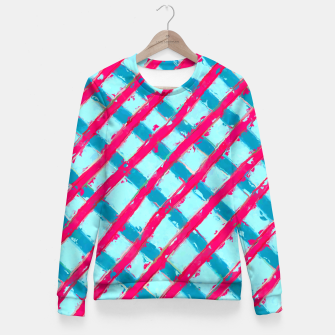 line pattern painting abstract background in blue and red Fitted Waist Sweater obraz miniatury
