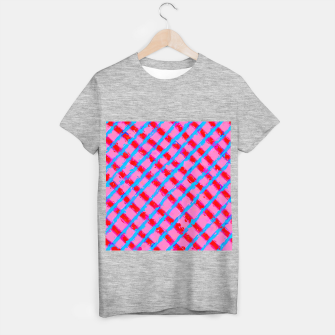 line pattern painting abstract background in pink red blue T-shirt regular obraz miniatury