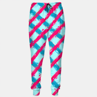 line pattern painting abstract background in blue and red Sweatpants obraz miniatury
