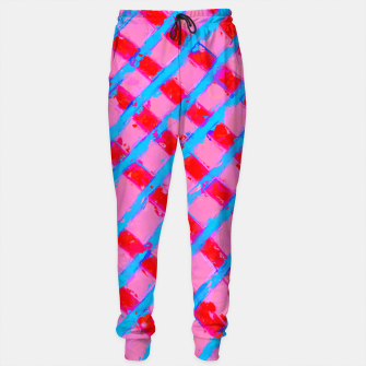 line pattern painting abstract background in pink red blue Sweatpants obraz miniatury