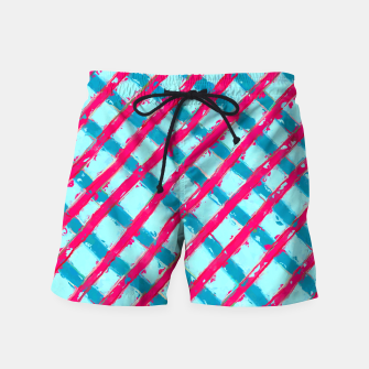 line pattern painting abstract background in blue and red Swim Shorts obraz miniatury