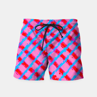 line pattern painting abstract background in pink red blue Swim Shorts obraz miniatury