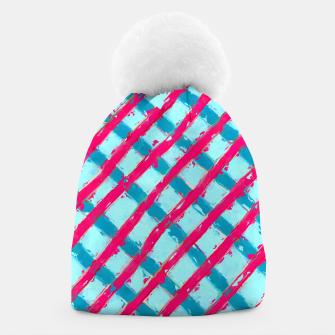 line pattern painting abstract background in blue and red Beanie obraz miniatury
