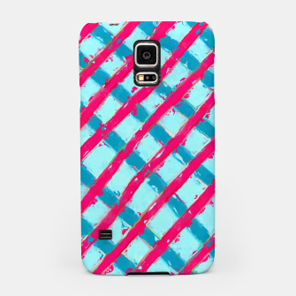 line pattern painting abstract background in blue and red Samsung Case obraz miniatury
