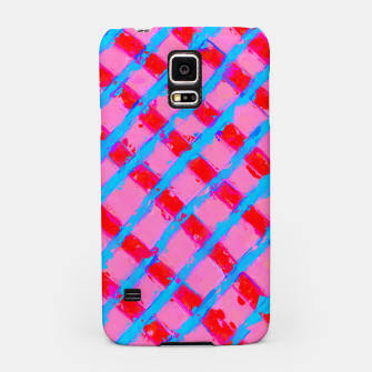 line pattern painting abstract background in pink red blue Samsung Case obraz miniatury
