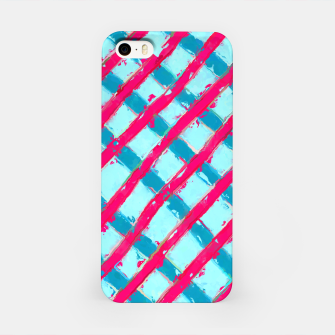 line pattern painting abstract background in blue and red iPhone Case obraz miniatury