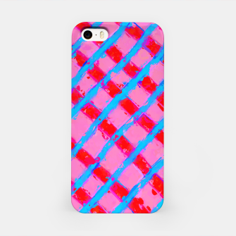 line pattern painting abstract background in pink red blue iPhone Case obraz miniatury