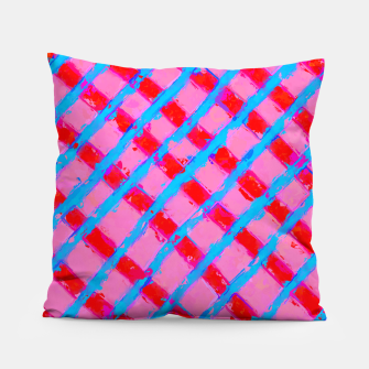 line pattern painting abstract background in pink red blue Pillow obraz miniatury