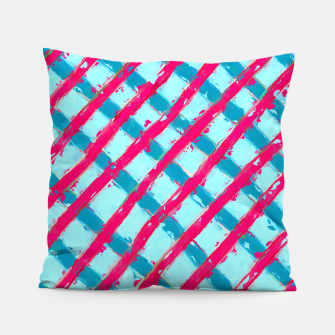 line pattern painting abstract background in blue and red Pillow obraz miniatury