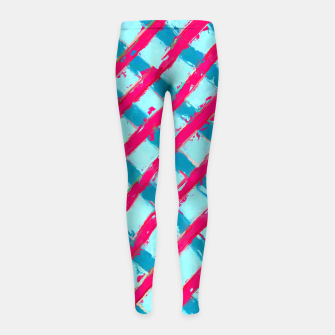line pattern painting abstract background in blue and red Girl's Leggings obraz miniatury