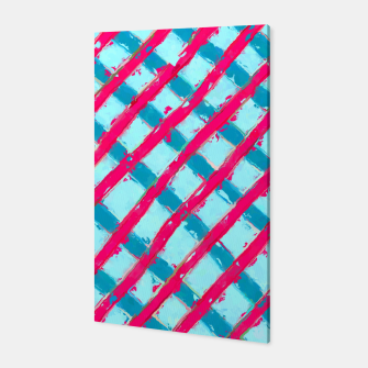 line pattern painting abstract background in blue and red Canvas obraz miniatury