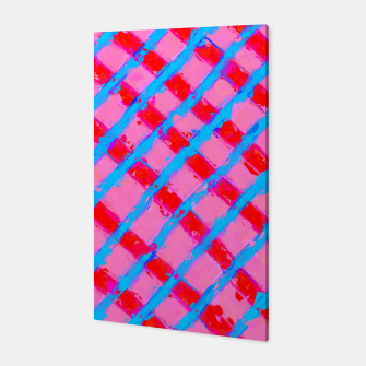 line pattern painting abstract background in pink red blue Canvas obraz miniatury