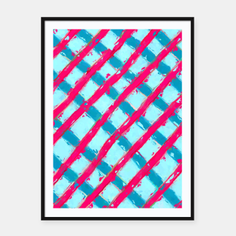 line pattern painting abstract background in blue and red Framed poster obraz miniatury