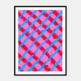 line pattern painting abstract background in pink red blue Framed poster obraz miniatury