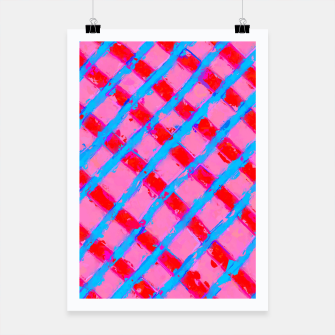 line pattern painting abstract background in pink red blue Poster obraz miniatury