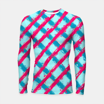 line pattern painting abstract background in blue and red Longsleeve Rashguard  obraz miniatury
