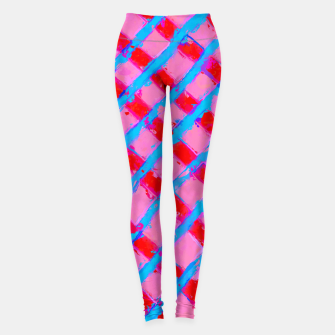 line pattern painting abstract background in pink red blue Leggings obraz miniatury