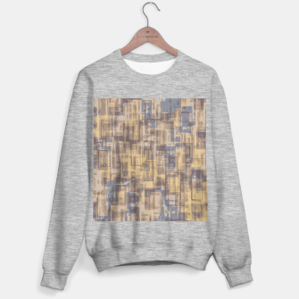 psychedelic geometric square pattern abstract in brown yellow and blue Sweater regular obraz miniatury