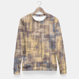 psychedelic geometric square pattern abstract in brown yellow and blue Fitted Waist Sweater obraz miniatury
