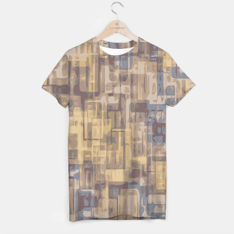 psychedelic geometric square pattern abstract in brown yellow and blue T-shirt obraz miniatury