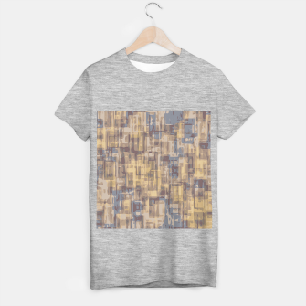 psychedelic geometric square pattern abstract in brown yellow and blue T-shirt regular obraz miniatury