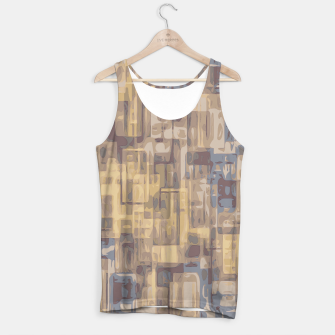 psychedelic geometric square pattern abstract in brown yellow and blue Tank Top obraz miniatury