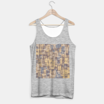 psychedelic geometric square pattern abstract in brown yellow and blue Tank Top regular obraz miniatury