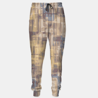psychedelic geometric square pattern abstract in brown yellow and blue Sweatpants obraz miniatury