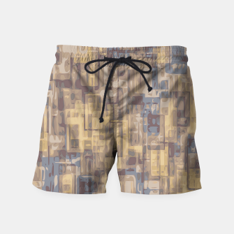 psychedelic geometric square pattern abstract in brown yellow and blue Swim Shorts obraz miniatury