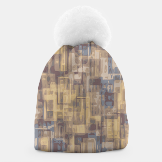 psychedelic geometric square pattern abstract in brown yellow and blue Beanie obraz miniatury
