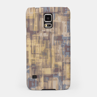 psychedelic geometric square pattern abstract in brown yellow and blue Samsung Case obraz miniatury