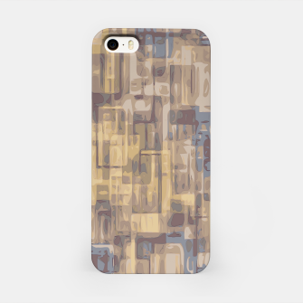 psychedelic geometric square pattern abstract in brown yellow and blue iPhone Case obraz miniatury