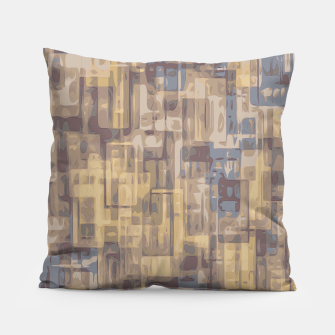 psychedelic geometric square pattern abstract in brown yellow and blue Pillow obraz miniatury