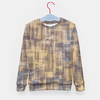 psychedelic geometric square pattern abstract in brown yellow and blue Kid's Sweater obraz miniatury